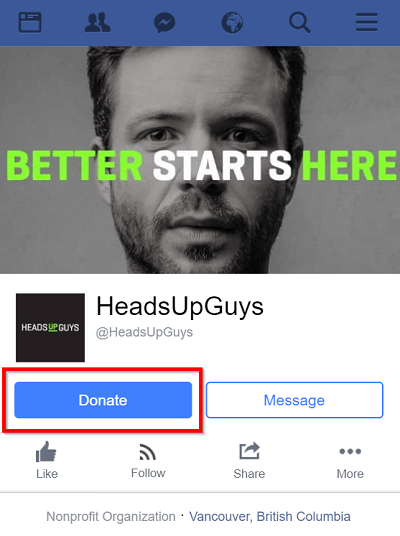 headupguys nonprofit organization asking for donation on their facebook page