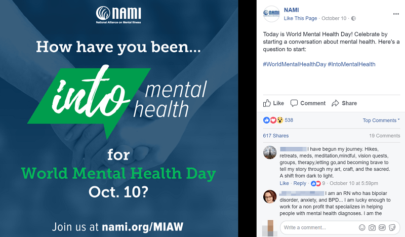 nami raising awareness for the world mental health day