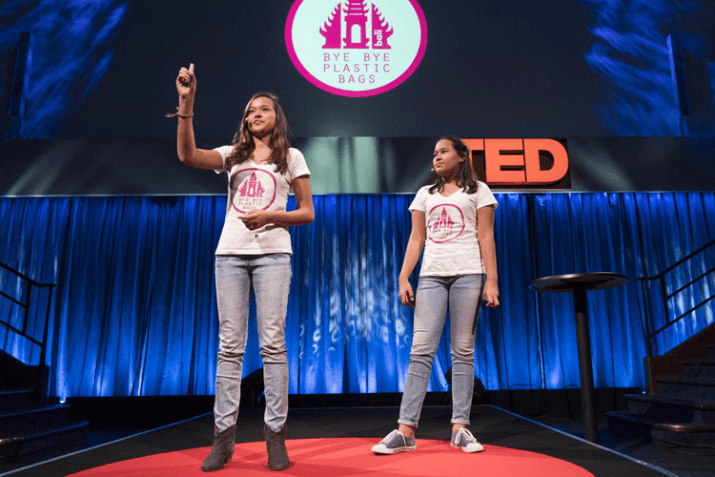 Bye Bye Plastic Bags founders and sisters, Melati (15) and Isabel (13) Wijsen