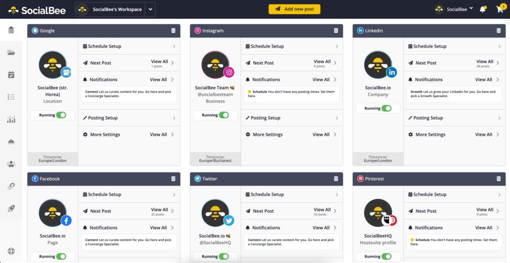 social media tool SocialBee Dashboard