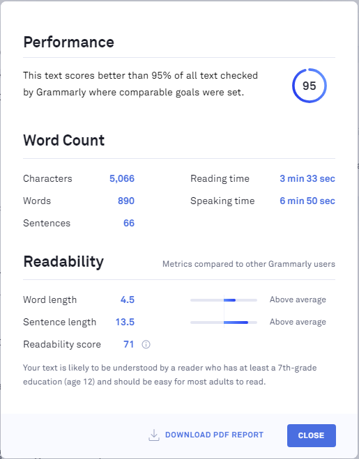 check readability in grammarly