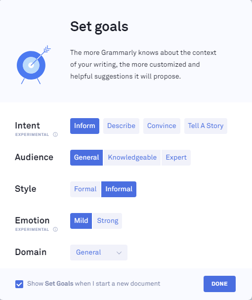 how to set goals in grammarly