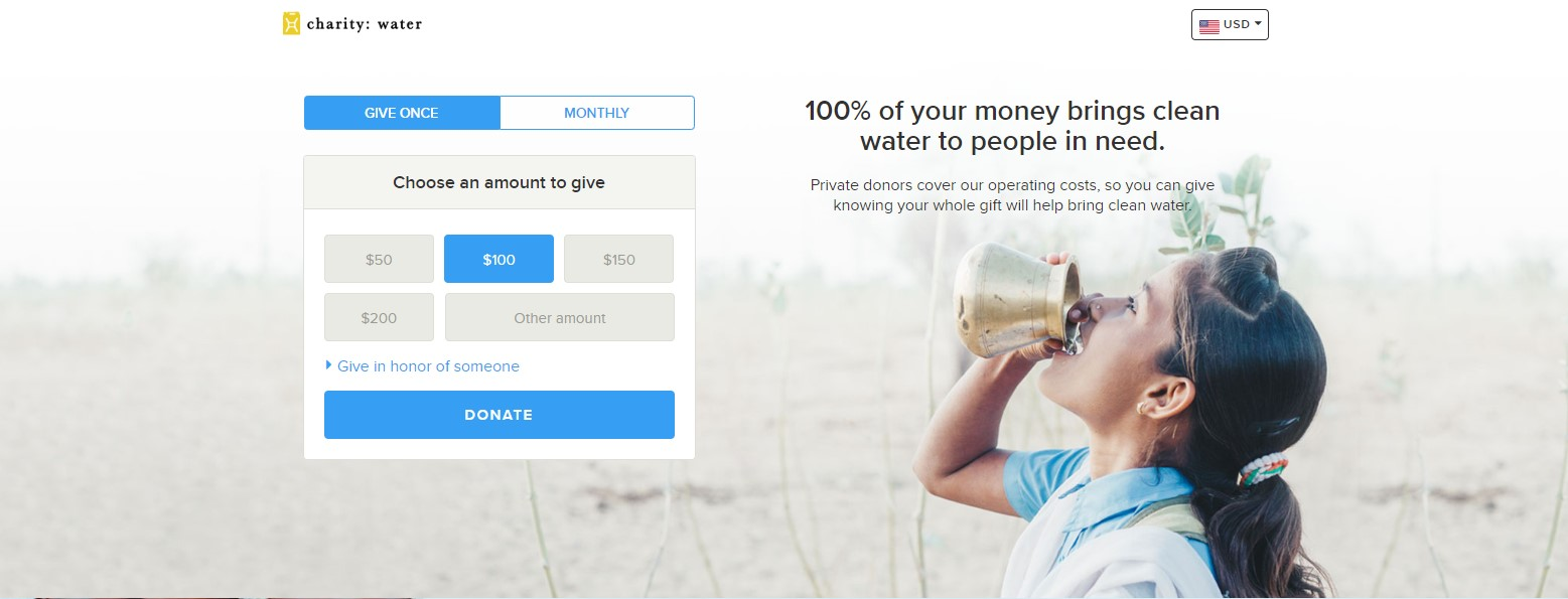 charity water landing page