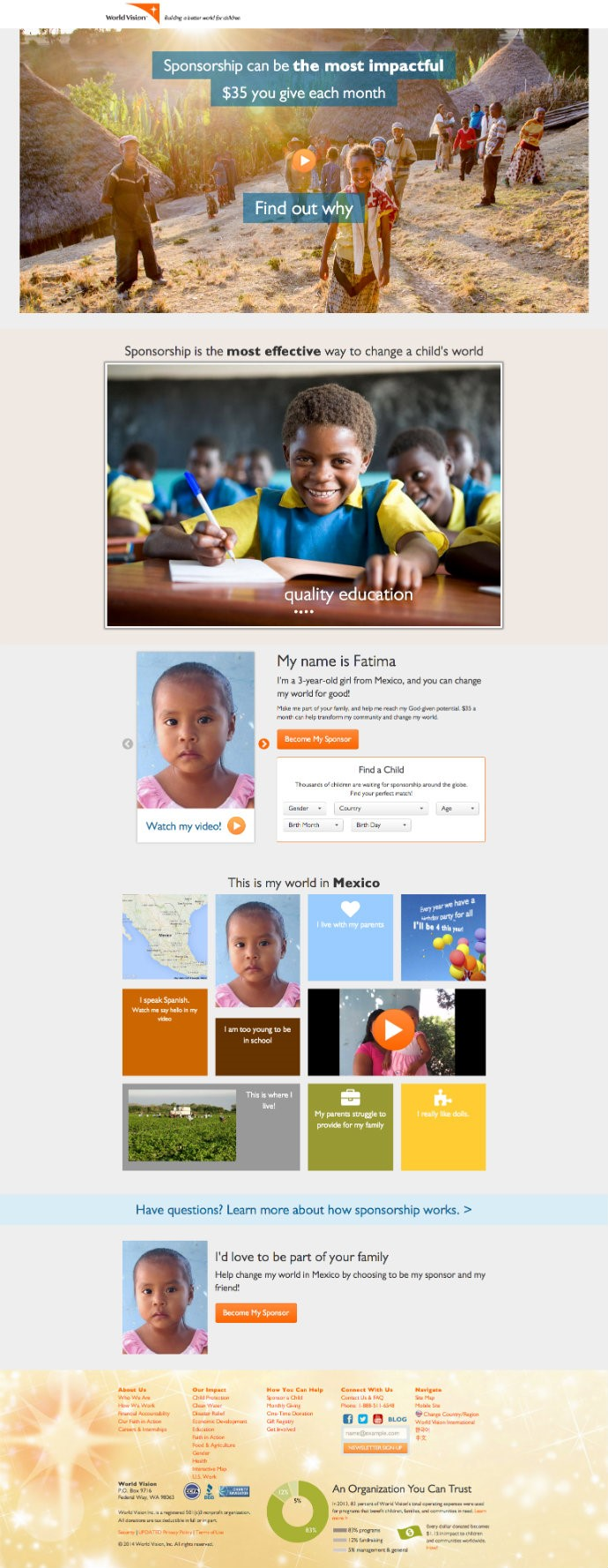 worldvision landing page