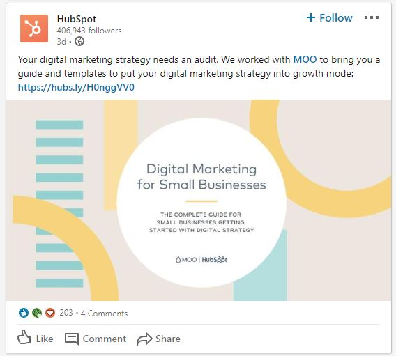 HubSpot LinkedIn post example