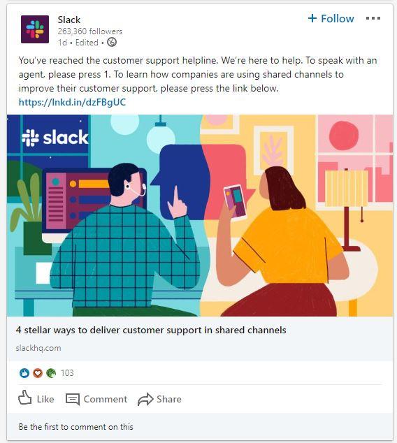 Slack LinkedIn post example