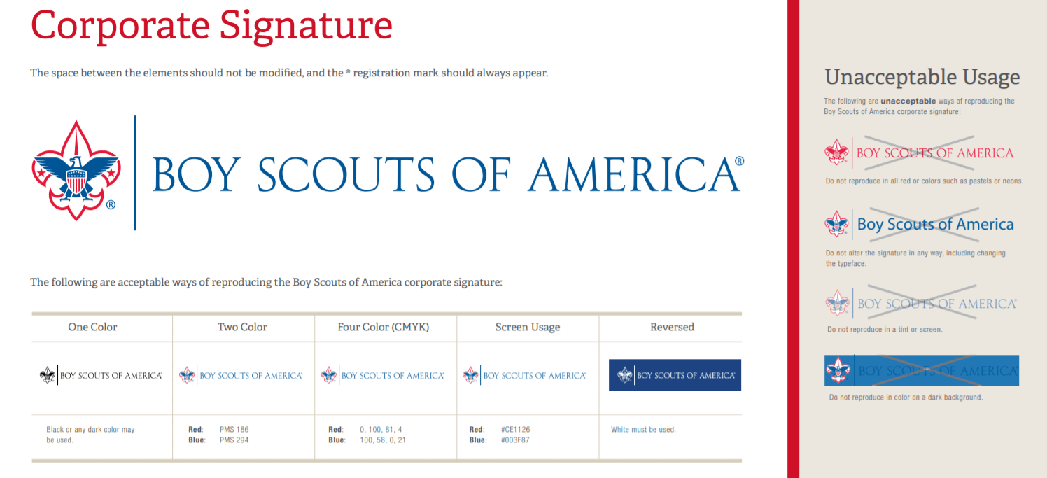 Nonprofit brand book example - boy scouts of america