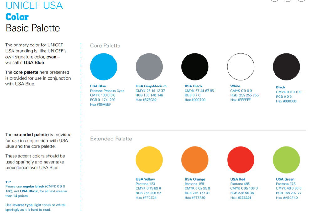 Unicef Brand Styleguide Color Usage