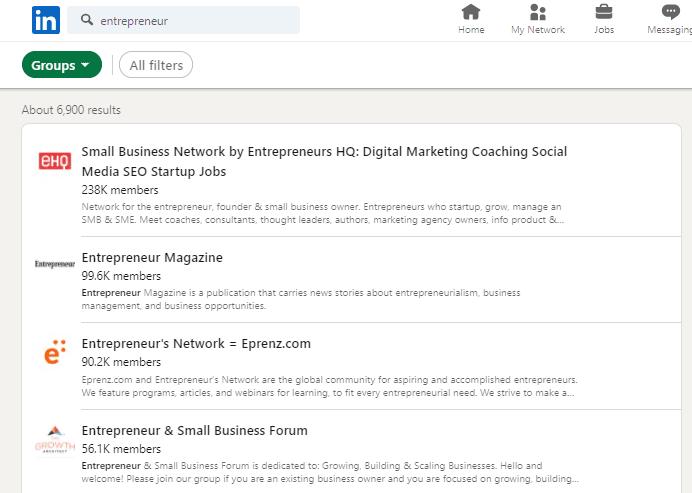 find LinkedIn groups within LinkedIn