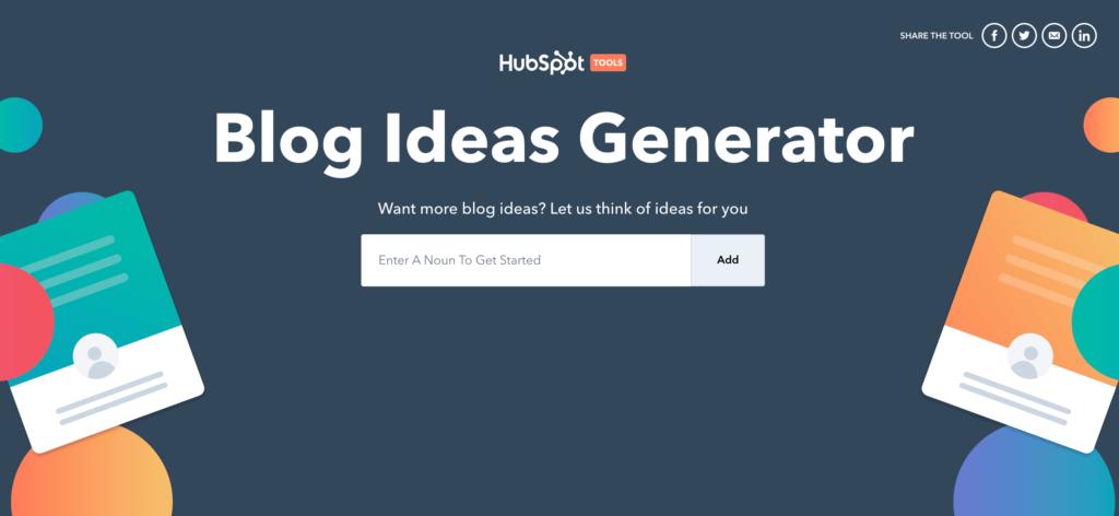 Blog Topic Generator by HubSpot