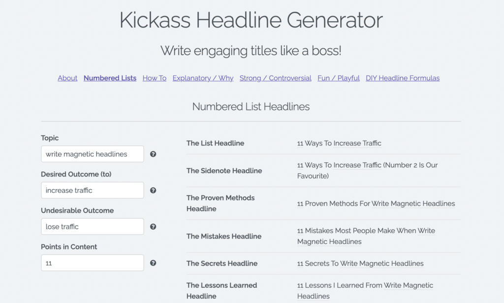 Free Blog Title Generator Tools by SumoMe