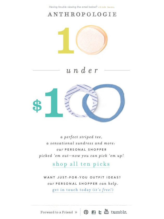 anthropologie simple email design