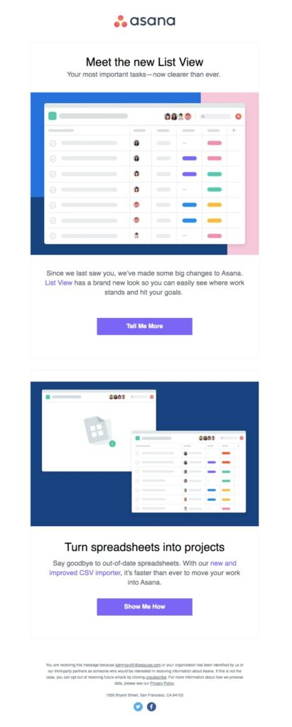asana example product update email