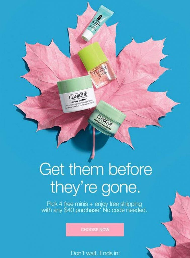 clinique attractive colors in email