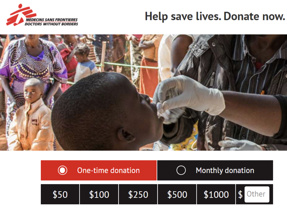 docters without borders donation page