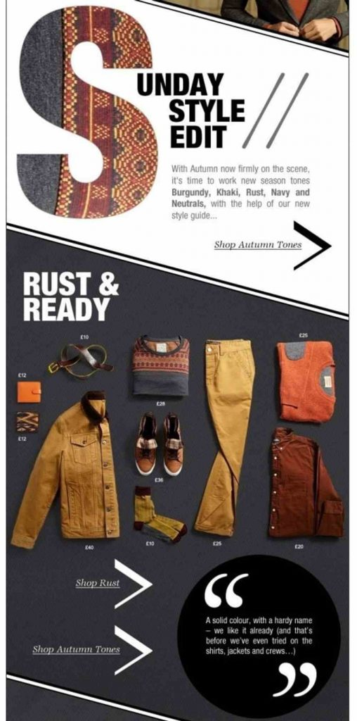 sunday style call to action email example